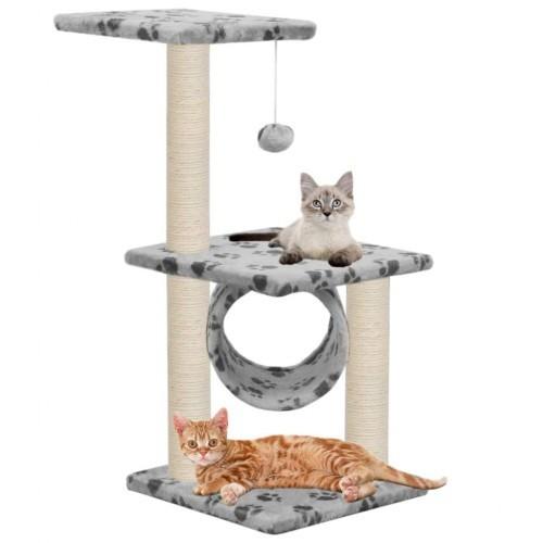 Rascador con postes de sisal para gatos color Gris Huellas