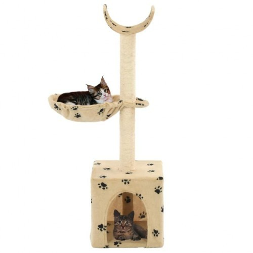 Rascador para gatos con poste de sisal color Beige huellas