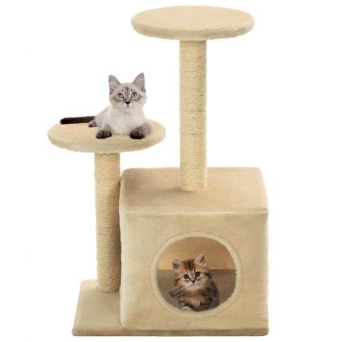 Rascador con poste de sisal para gatos color Beige