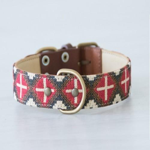 Collar Milu hecho a mano para perros color Rojo/Blanco