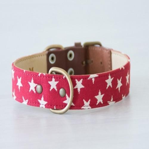 Collar Nana hecho a mano para perros color Rojo/Estrellas Blancos