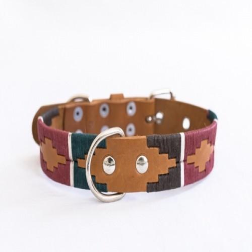 Collar Pampa hecho a mano para perros color Marrón/Verde/Azul