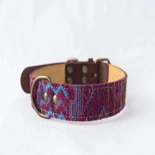 Collar Cholo hecho a mano para perros color Rosa/Azul