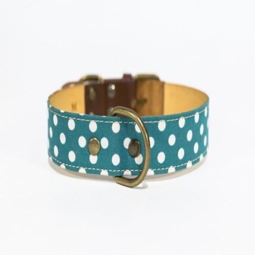 Collar Lola hecho a mano para perros color Verde/Lunares Blancos