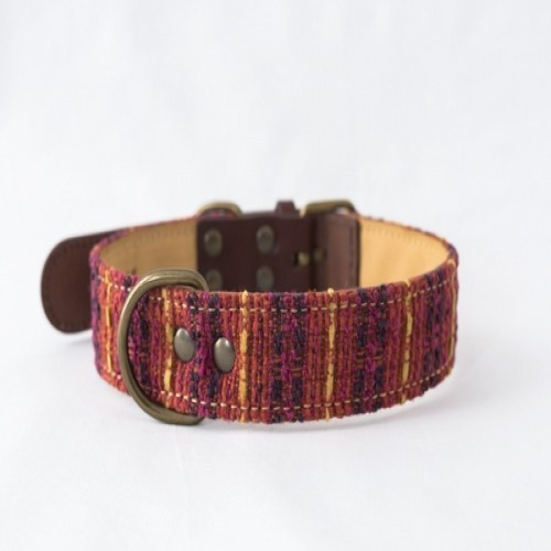 Collar Luca hecho a mano para perros color Rojo/Amarillo/Azul