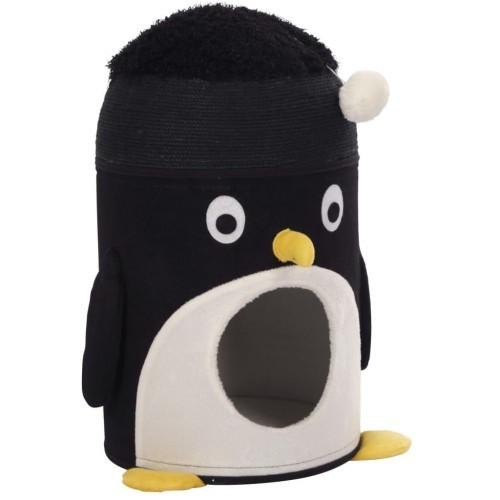Cama cueva Kerbl Pingu para gatos color Negro y Blanco