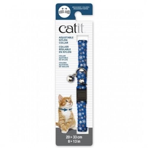 Collar de nylon con cascabel para gatos color Azul/Flor