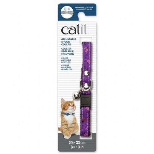 Collar de nylon con cascabel para gatos color Púrpura/Mariquita