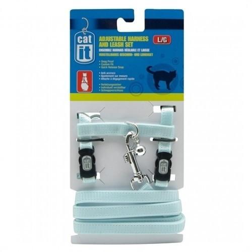 Arnés y correa de nylon ajustable para gatos color Azul