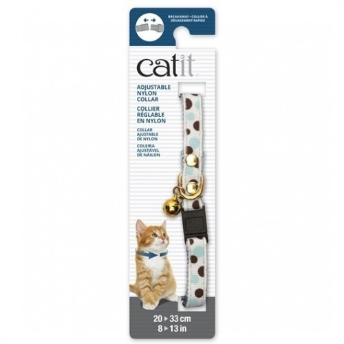 Collar de nylon con cascabel para gatos color Blanco/Lunares