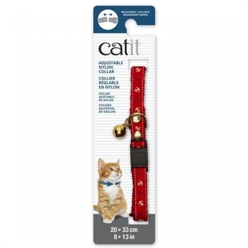 Collar de nylon con cascabel para gatos color Rojo/Náutico