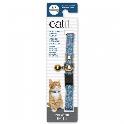 Collar de nylon con cascabel para gatos color Azul/Corazón