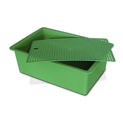 Cubeta de plástico plana para roedores color Verde