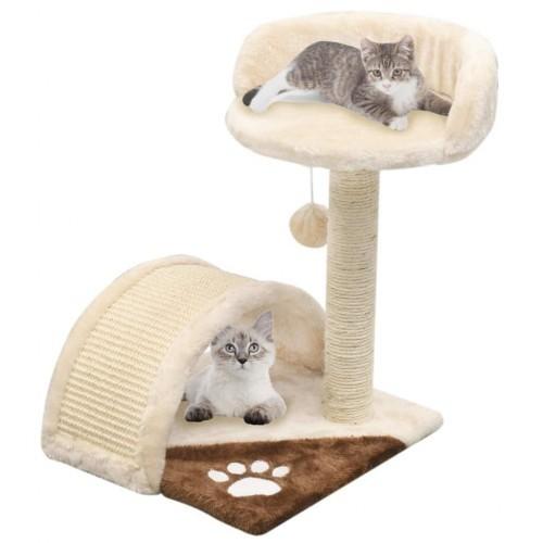 Rascado con poste de sisal para gatos color Beige y Marrón