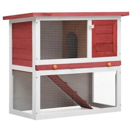 Conejera de exterior con puerta para conejos color Rojo