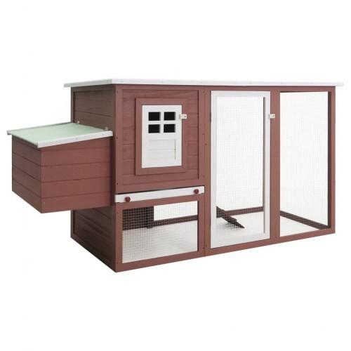 Gallinero de exterior con caja nido para gallinas color Marrón