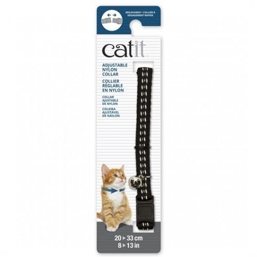 Collar ajustable reflective de nylon para gatos color Negro