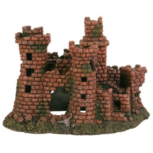 Castillo en ruinas para decoración de acuario color Marrón