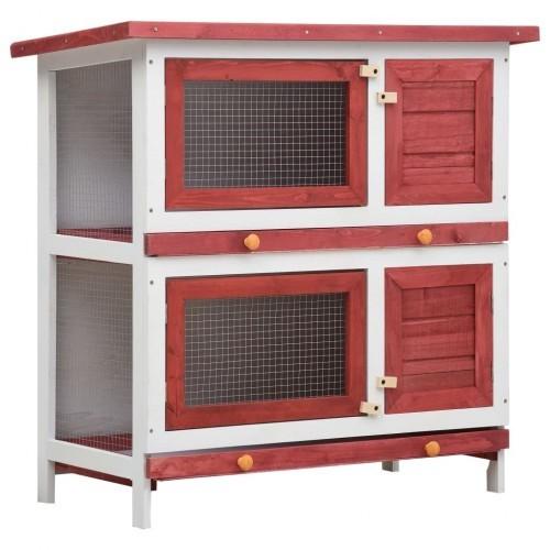 Jaula conejera con 4 puertas madera color Rojo