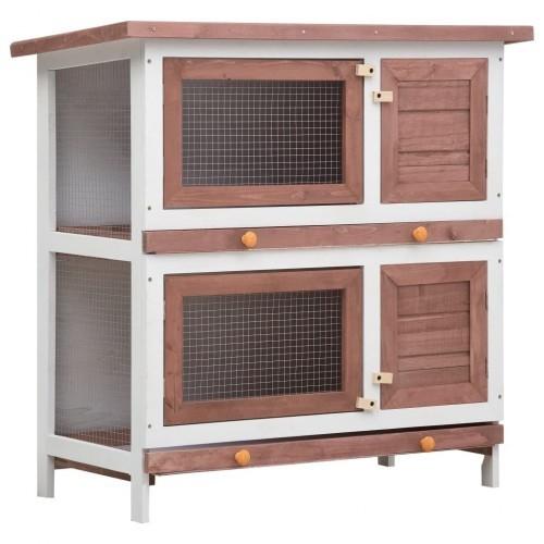 Jaula conejera con 4 puertas de madera color Marrón