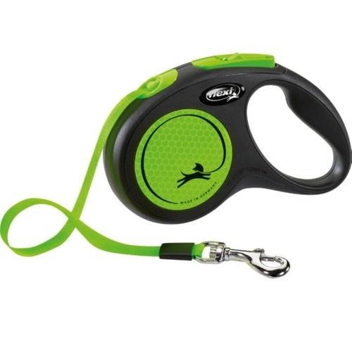 Flexi New Neon correa extensible de cinta verde