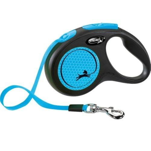 Flexi New Neon correa extensible de cinta azul