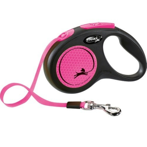 Flexi New Neon correa extensible de cinta rosa