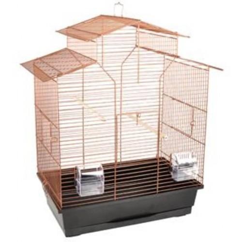 Jaula metálica para pájaros con 3 puertas color Cobre
