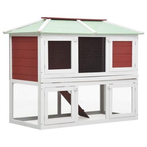 Jaula de 2 pisos para animales color Rojo