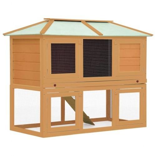 Jaula de 2 pisos para animales color Marrón