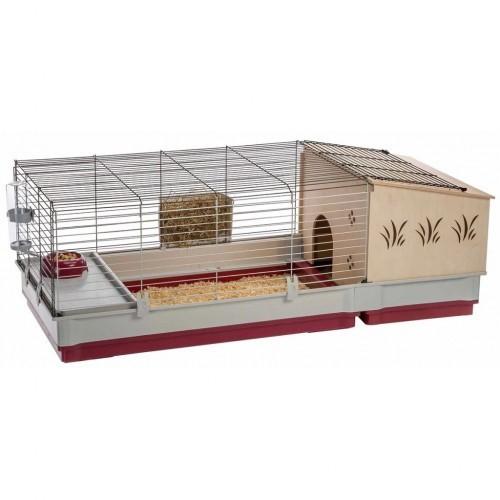 Jaula de interior con casita para conejos color Multicolor