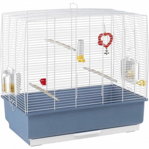 Jaula para pájaros pequeños color Blanco y Azul