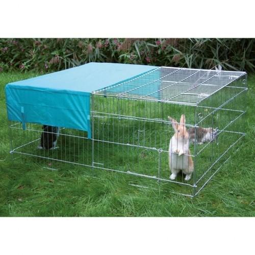 Jaula de exterior para conejos color Plateado