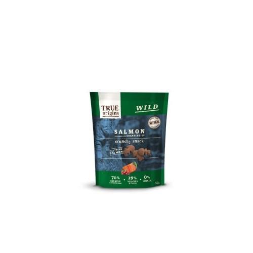 Snacks para gatos True Origins sabor salmón y arándanos