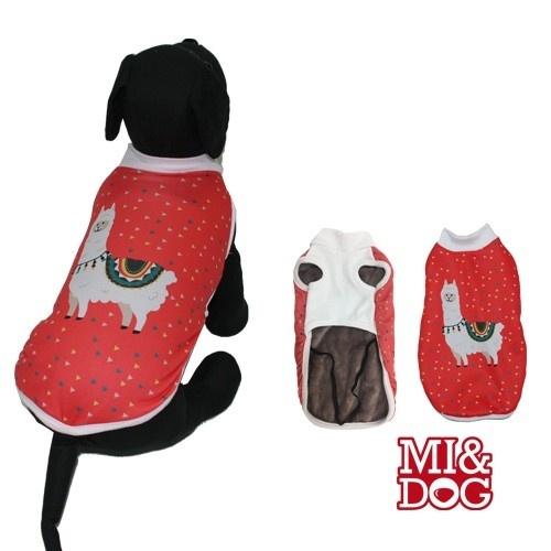Abrigo de llama con capa felpado para perros color Blanco