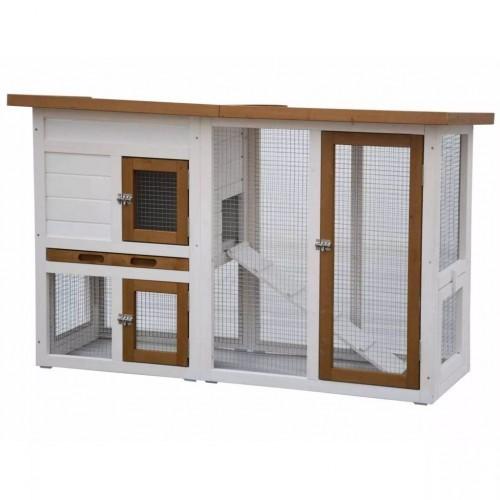 Conejera con casita para conejos color Blanco/Marrón