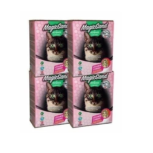 Pack 4 cajas de arena no aglomerante para gatos olor Talco