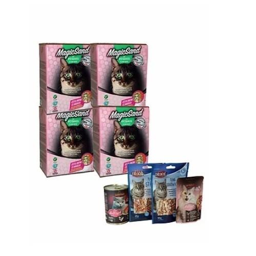 Pack 4 cajas de arena no aglomerante y snacks olor Talco