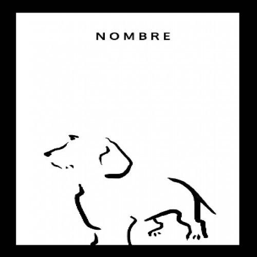 Ilustración de Terrier con marco negro color Blanco