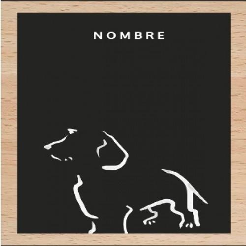 Ilustración de Terrier con marco de madera color Negro