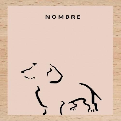 Ilustración de Terrier con marco de madera color Rosa