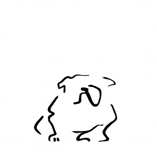 Ilustración de Bulldog A4 color Blanco