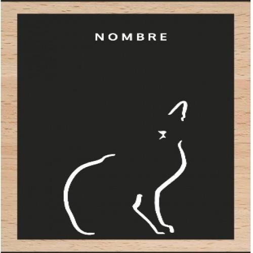 Ilustración gato doméstico marco de madera color Negro