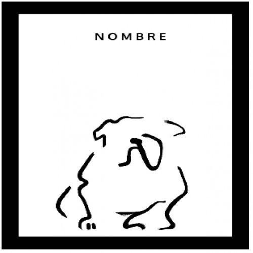 Ilustración de Bulldog con marco negro color Blanco
