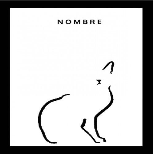 Ilustración Gato doméstico A4 marco negro color Blanco