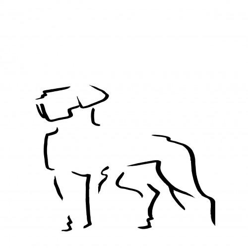 Ilustración Dogo sin marco color Blanco