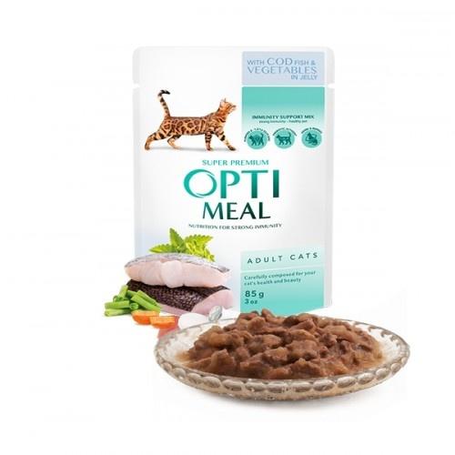Optimeal Pienso húmedo para gatos Bacalao y Verduras en gelatina