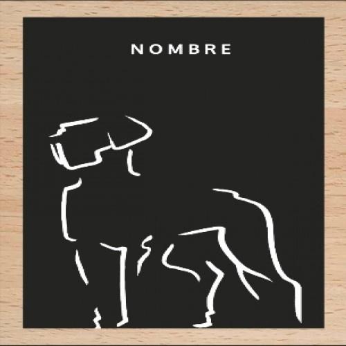 Ilustración de Dogo con marco de madera color Negro