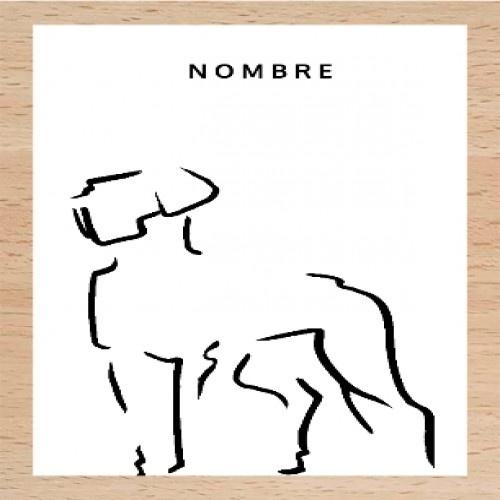 Ilustración de Dogo con marco de madera color Blanco