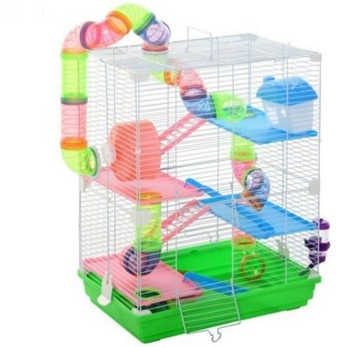 Jaula de 5 plantas con accesorios para hámsters color Verde